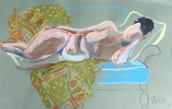 Nude watercolor painting #1599 with Kantha quilt -original  by Gretchen Kelly
