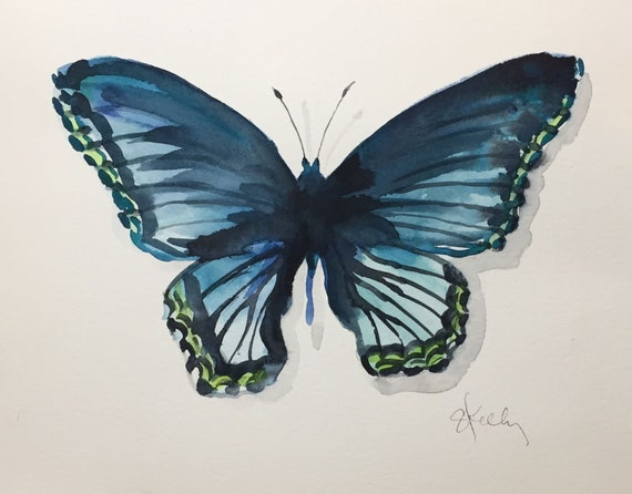 Original Watercolor painting of Blue Butterfly