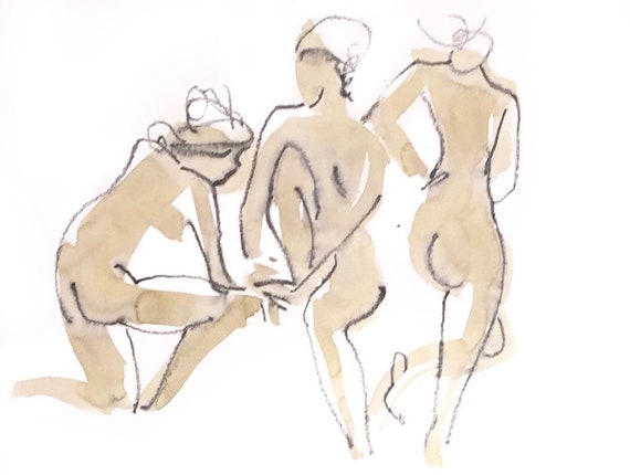 Nude painting of One minute pose 124.1 - Original watercolor painting by Gretchen Kelly, wall art, home decor