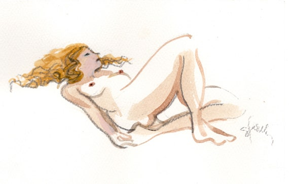 Watercolor graphite painting of MINI NUDE 46- original  by Gretchen Kelly