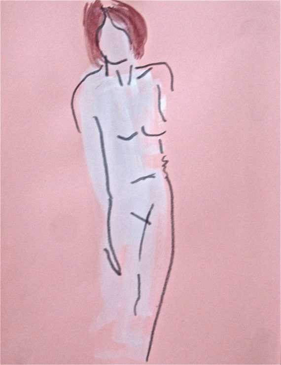 Nude One Minute Pose LXXVI.1- original painting by Gretchen Kelly