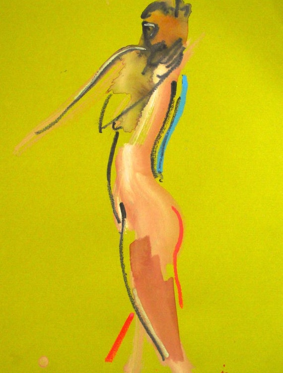 Nude painting of One minute pose 83.4 ,nude art, original, gesture sketch by Gretchen Kelly