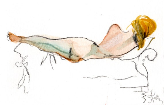 MINI NUDE 40- original watercolor painting by Gretchen Kelly