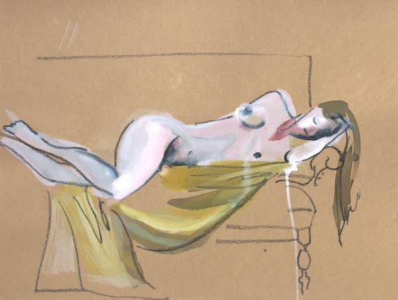 Nude painting- Original watercolor painting of Nude #1434 by Gretchen Kelly