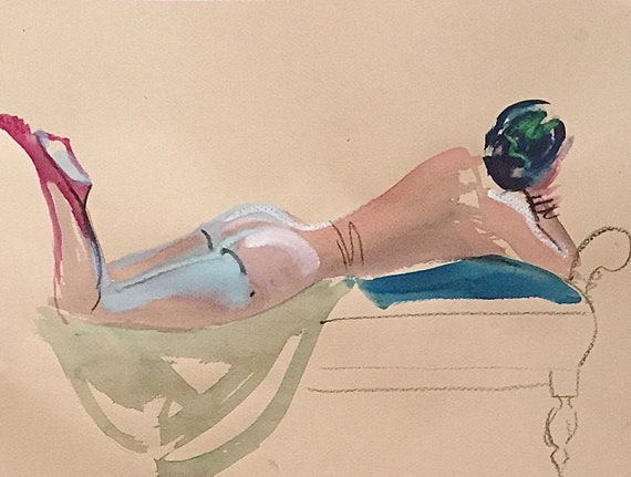Nude #1535- original watercolor painting by Gretchen Kelly