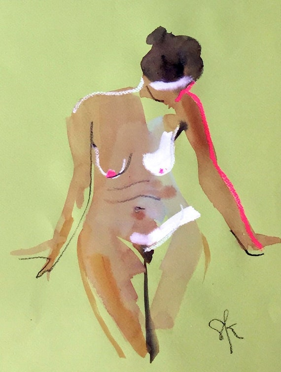Nude painting of One minute pose 115.7 Original painting by Gretchen Kelly