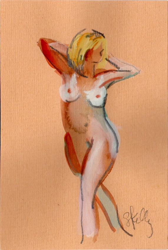 Watercolor graphite painting of MINI NUDE 54- original  by Gretchen Kelly