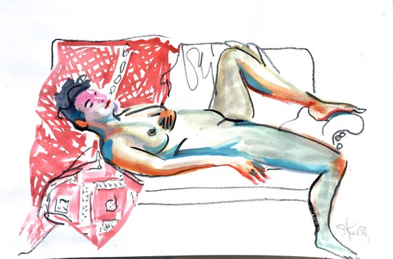 Nude watercolor painting #1597 -original  by Gretchen Kelly