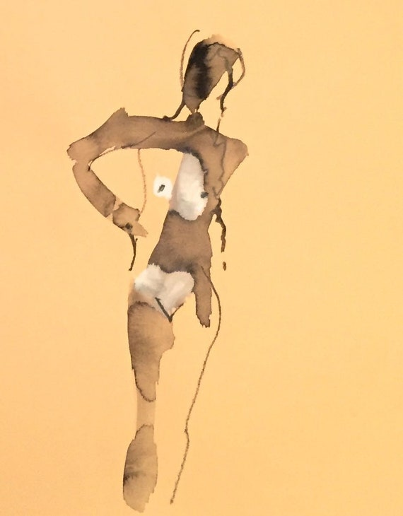 Nude painting of One minute pose 114.10 - Original watercolor painting by Gretchen Kelly