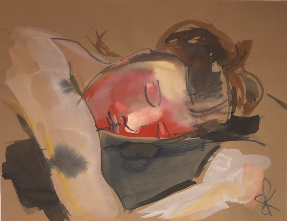 Vera Asleep Portrait- original watercolor portrait painting by Gretchen Kelly