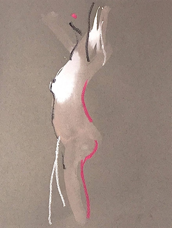 Nude painting of One minute pose 110.6 - Original watercolor painting by Gretchen Kelly
