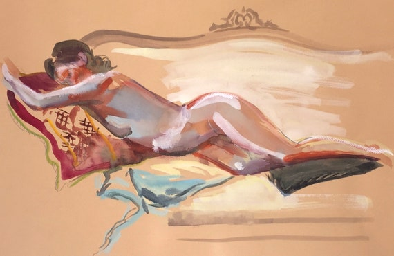 Nude painting- Original watercolor painting of Nude #1521 by Gretchen Kelly