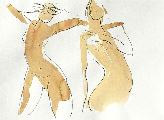 Nude painting of One minute pose 123.1 - Original nude painting by Gretchen Kelly