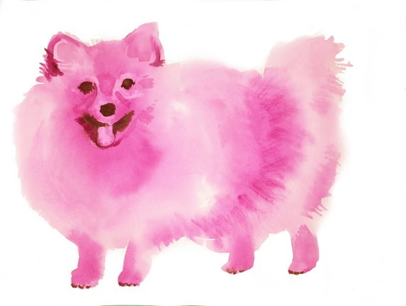 Giclee print of Pink Pomeranian dog from original watercolor painting