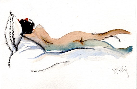 Watercolor graphite painting of MINI NUDE 41- original  by Gretchen Kelly