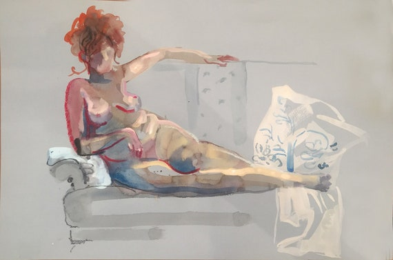 Nude painting- Original watercolor painting of Nude #1664 by Gretchen Kelly