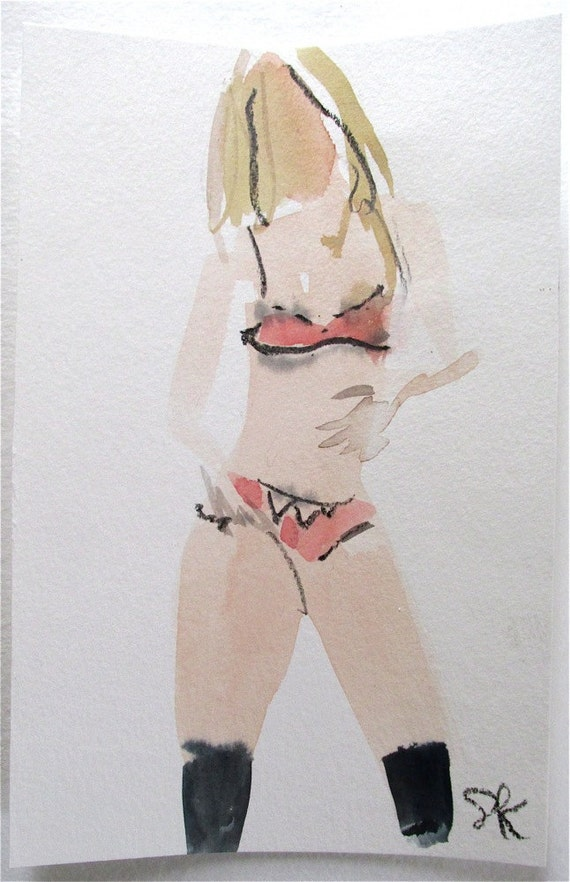 Nude painting- Boudoir Session 5.1 original watercolor nude painting by Gretchen Kelly