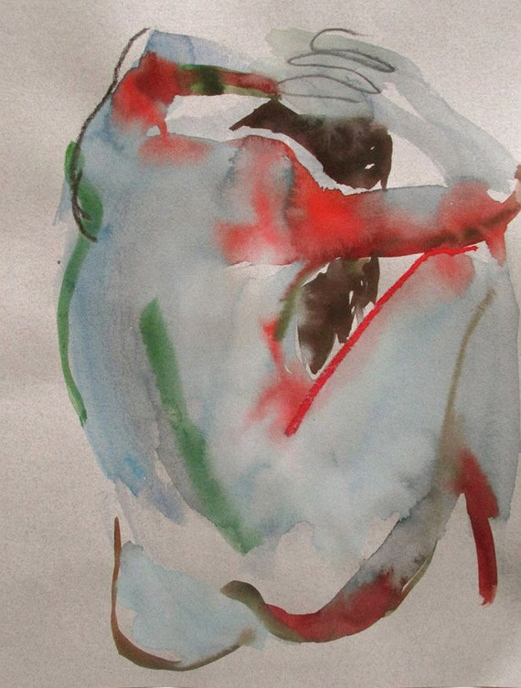 Nude painting- Original watercolor painting of Nude #1220 by Gretchen Kelly