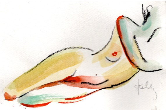 MINI NUDE 43- original watercolor painting by Gretchen Kelly