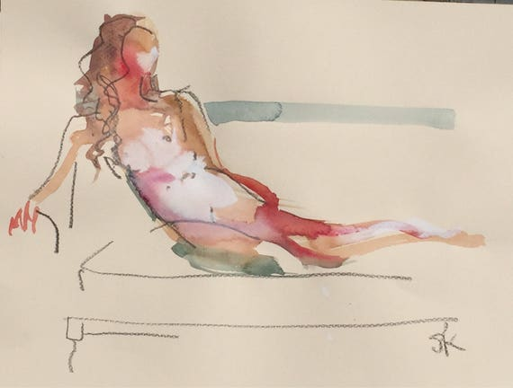 Nude painting- Original watercolor painting of Nude #1446 by Gretchen Kelly