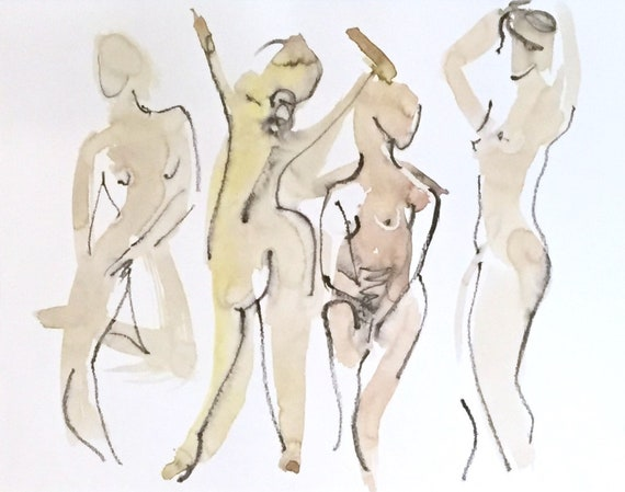 Nude painting of One minute pose 124.2 - Original watercolor painting by Gretchen Kelly, wall art, home decor