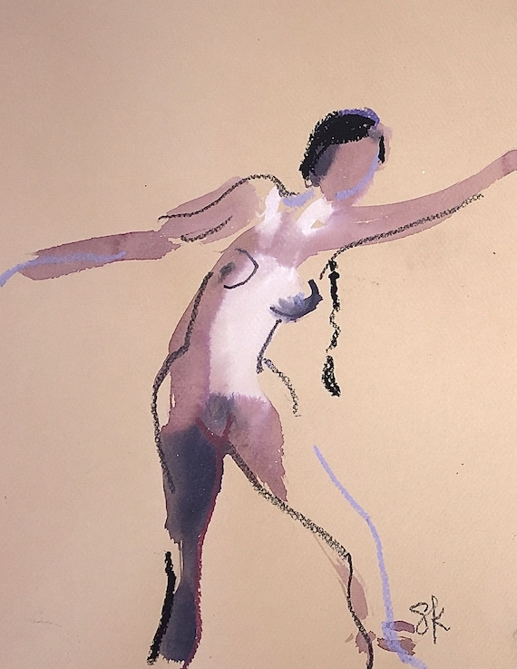 Nude painting of One minute pose 112.7 ,nude art, original, gesture sketch by Gretchen Kelly