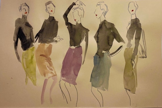 Original watercolor painting of Pencil Skirt Girls from the 1950s fashion illustration