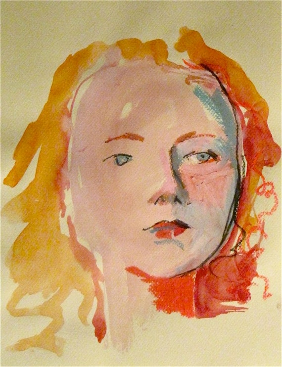 Portrait of Nude #1044 original watercolor painting by Gretchen Kelly