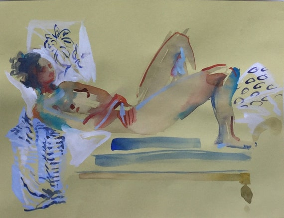 Nude painting#1629  Original watercolor painting by Gretchen Kelly