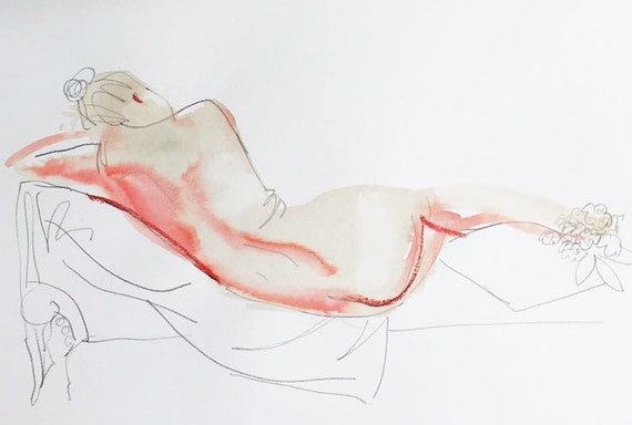 Nude painting- Original watercolor painting of Nude #1614 with Lilacs by Gretchen Kelly
