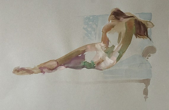 original watercolor painting Nude #1536-  by Gretchen Kelly