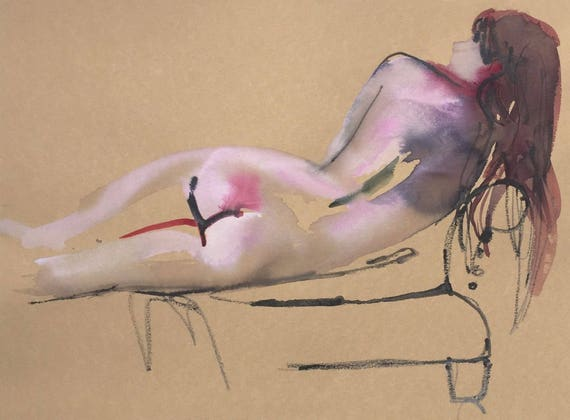 Nude painting- Original watercolor painting of Nude #1435 by Gretchen Kelly