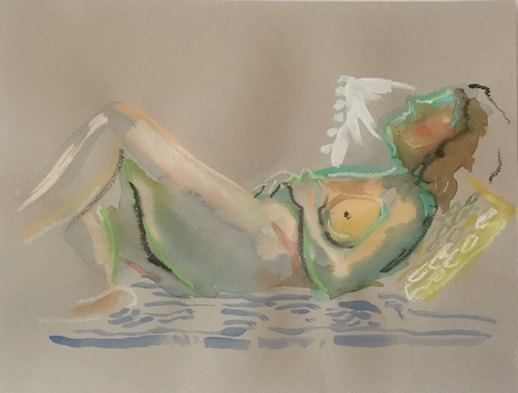 Nude painting- Original watercolor painting of Nude #1678 Gretchen Kelly