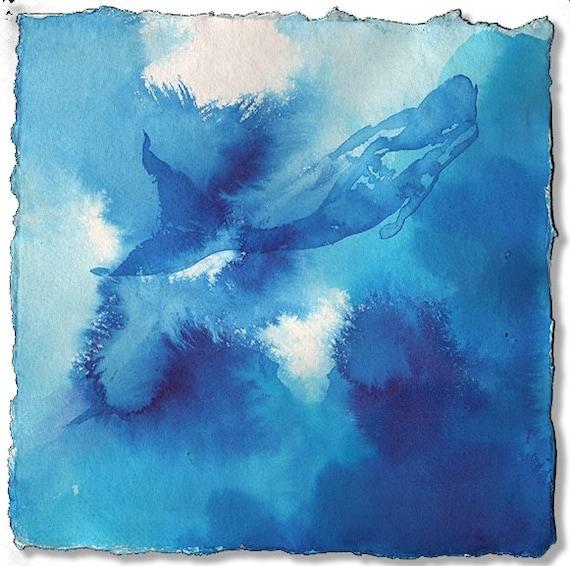 Mermaid- Azure Blue Mermaid- original painting by Gretchen Kelly