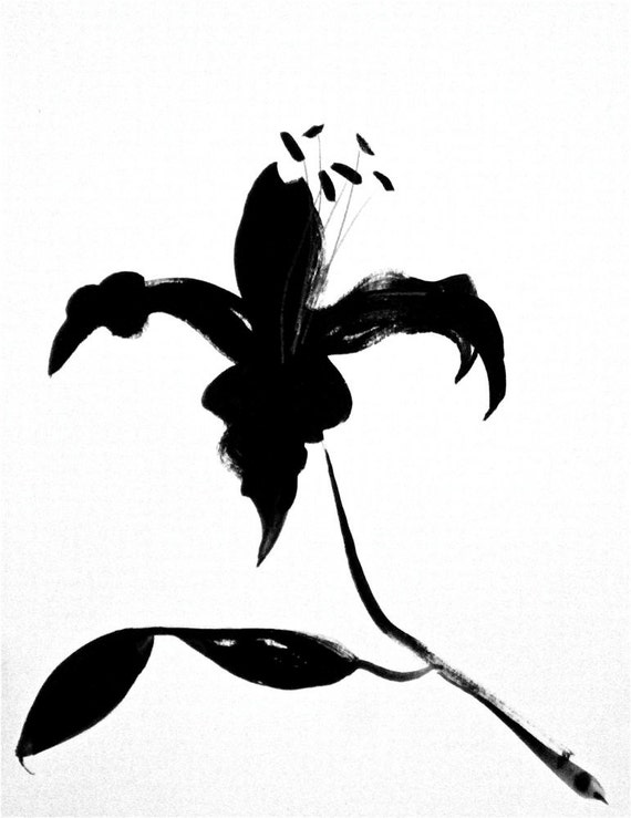 Black Goth Lily 4- original painting by Gretchen Kelly