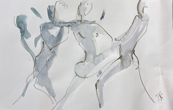 One minute pose group 146 - Original watercolor painting by Gretchen Kelly, wall art, home decor
