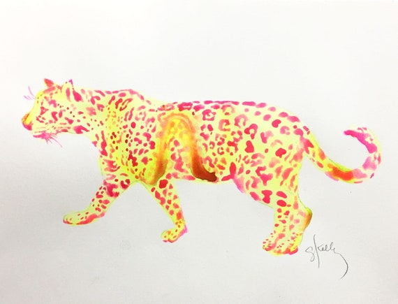 Original Watercolor painting of Neon Leopard Jungle Animal