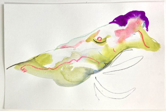 Original watercolor painting of Nude #1692, sketch by Gretchen Kelly