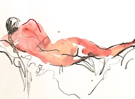 Nude Painting #1543- original watercolor painting of nude by Gretchen Kelly