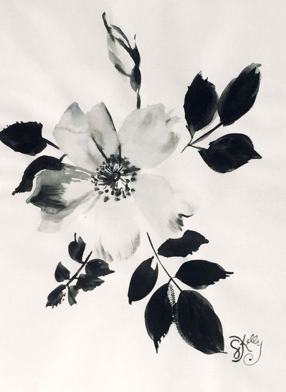 Original floral watercolor painting -Monochromatic Rose