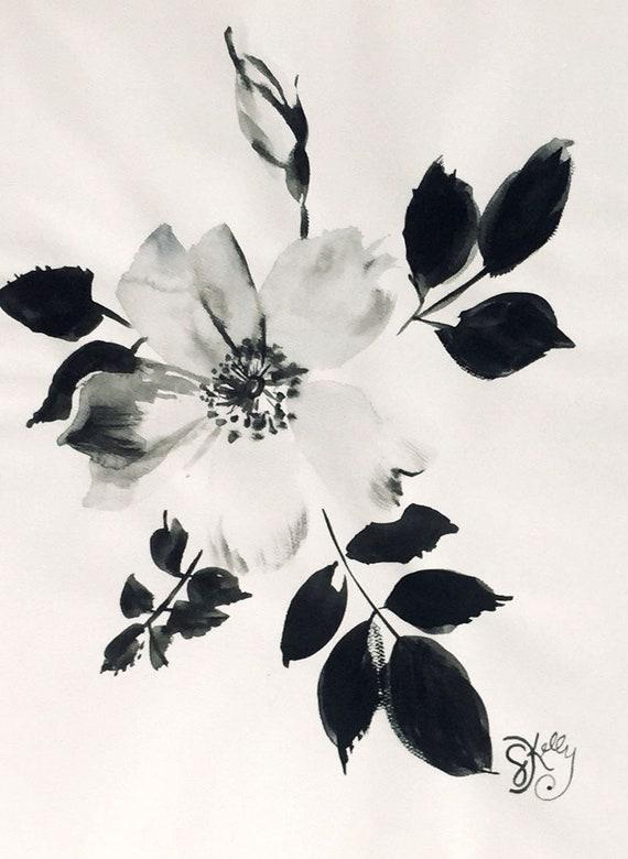 Original floral watercolor painting -Monochromatic Rose