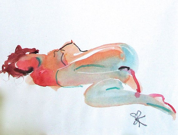 Nude painting- Original watercolor painting of Nude #1518 by Gretchen Kelly