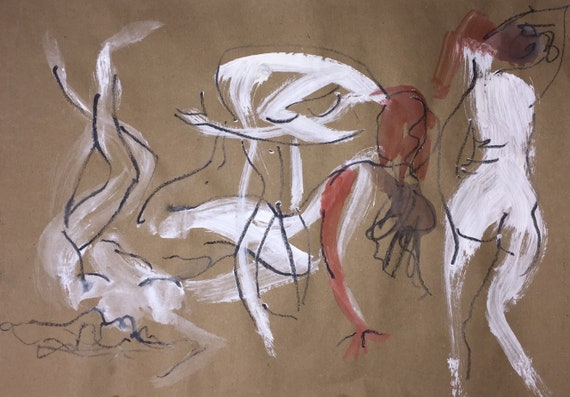 Painting of group of Nudes, One Minute Poses 117.2 Original gouache sketch by Gretchen Kelly