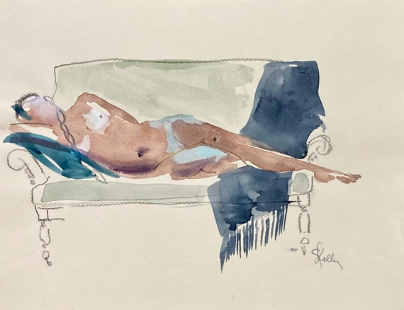 Nude #1689- original watercolor painting by Gretchen Kelly