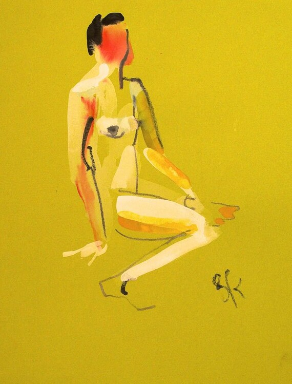 Original watercolor painting of One Minute Pose 81.2 by Gretchen Kelly