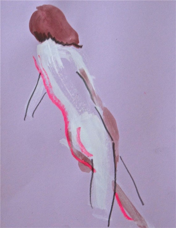 Nude One Minute Pose LXXVI.5- original painting by Gretchen Kelly