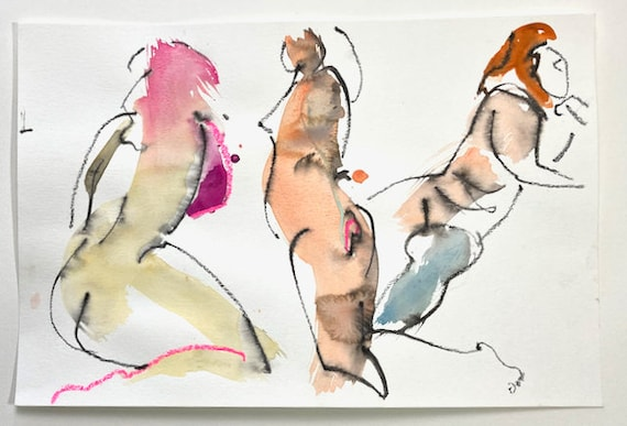 Nude painting of One minute pose group 144.1 - Original watercolor painting by Gretchen Kelly, wall art, home decor