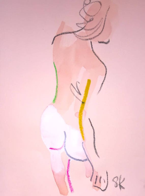 Nude painting of One minute pose 107.8 Original painting by Gretchen Kelly