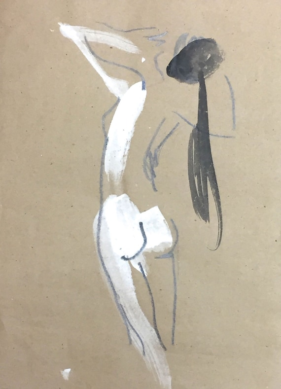 Nude painting of One minute pose 97.7 - Original painting by Gretchen Kelly