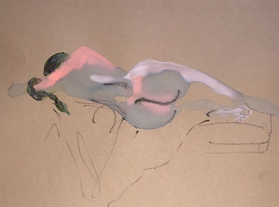 Nude #1529- original watercolor painting by Gretchen Kelly